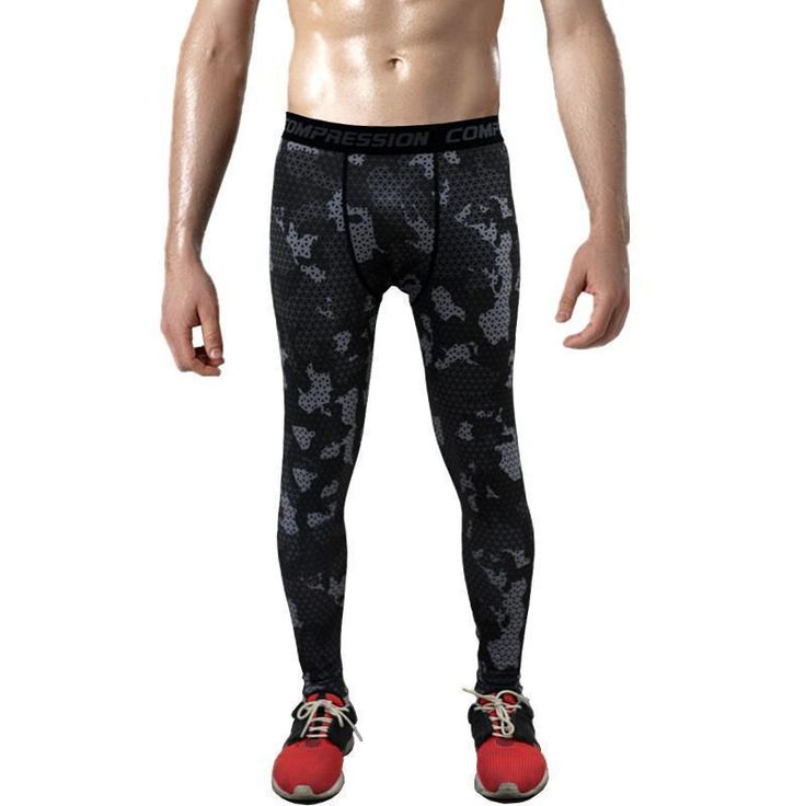 Mens Compression Pants – Crossfit Tights Men Bodybuilding Pants Trousers Camoufl