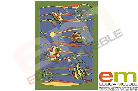#Alfombra con dibujos de #Peces - Tienda Educamueble