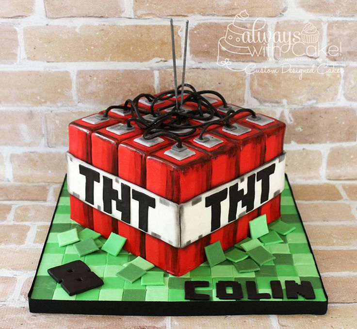 Minecraft TNT Cake - My neighbor s son is obsessed with ...