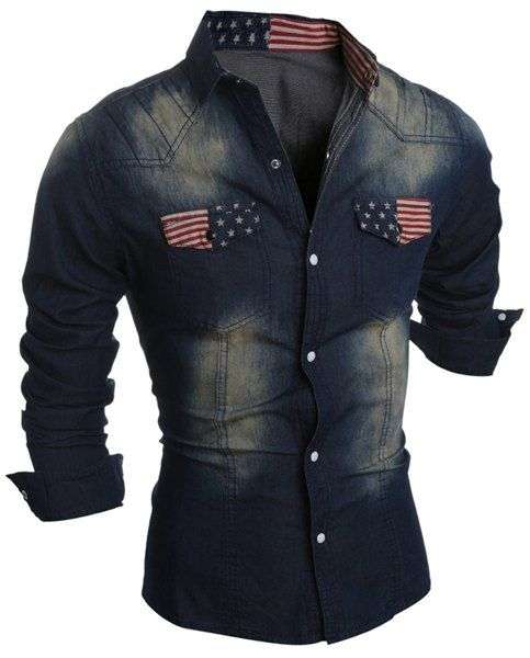 SHARE & Get it FREE   Turn-Down Collar Bleach Wash Flag Print Long Sleeve Pocket Denim Shirt For MenFor Fashion Lovers only:80,000+ Items • New Arrivals Daily • Affordable Casual to Chic for Every Occasion Join Sammydress: Get YOUR $50 NOW!