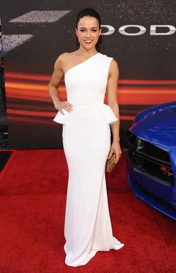 : Michelle Rodriguez brought her style A-game to the Fast & Furious 6 LA premiere in a white one-shouldered peplum gown.