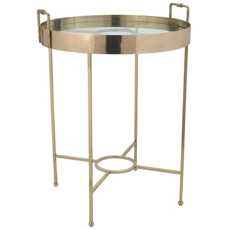 """Gold Radar Side Table by Lazy Susan.  Dimensions 20.5""""d x 27.5""""h"""