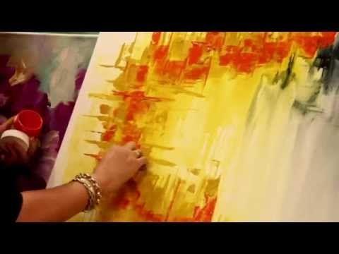 ▶ Como pintar un cuadro abstracto - Gabriela Mensaque - Artistica Monitor…