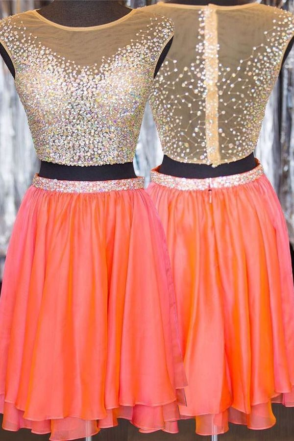 Stunning Bateau Homecoming Dresses,Two Piece Homecoming Dresses,Cap Sleeves Short Homecoming Dresses Illusion Back with Beading
