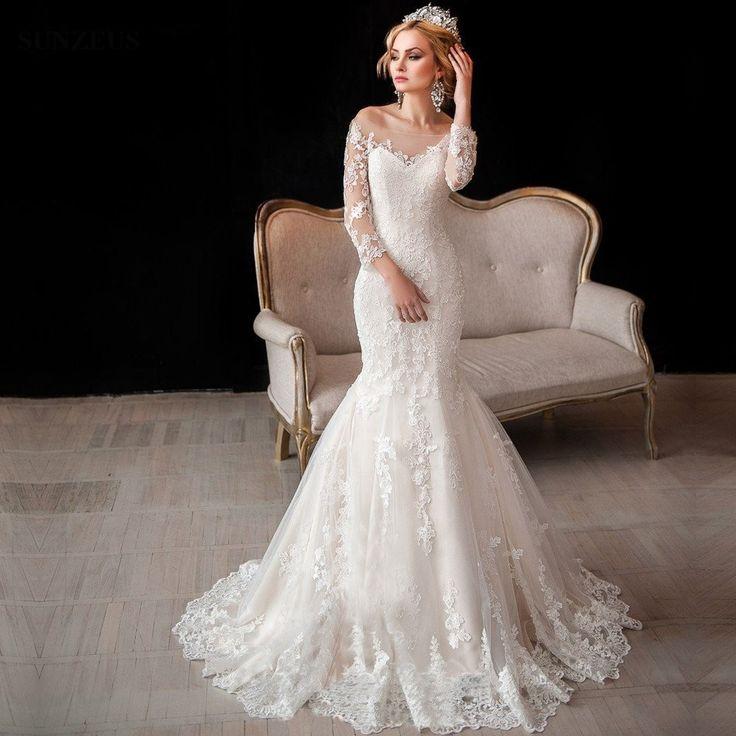 Mermaid Off The Shoulder Three Quarter Sleeves Wedding Dresses Appliques Lace Bridal Gowns For Elegant Ladies SAU551