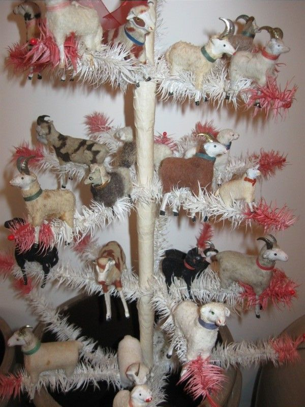 Feather Tree decorated with antique German Sheep,Goats, Lambs, Cows,Dogs,and a Wolf in Lamb's Clothing.