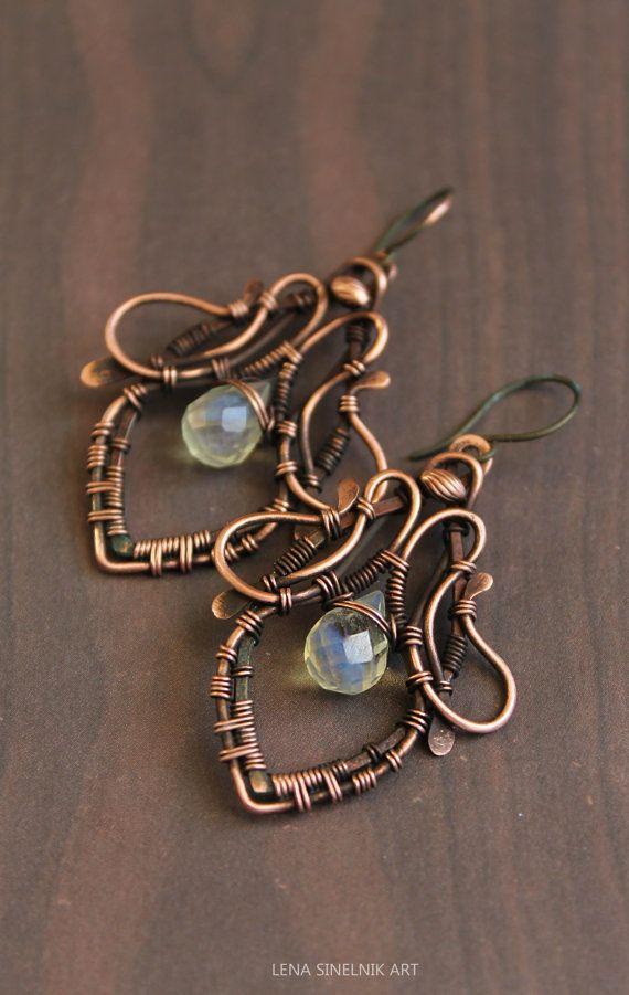 Wire wrap earrings copper earrings pineapple by LenaSinelnikArt