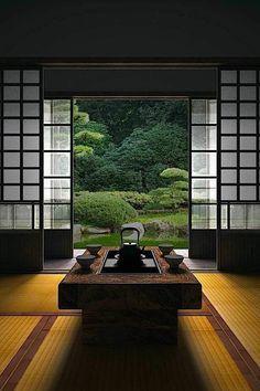 intérieur japonais, meubles ja ponais, porte coulissante de style japonais