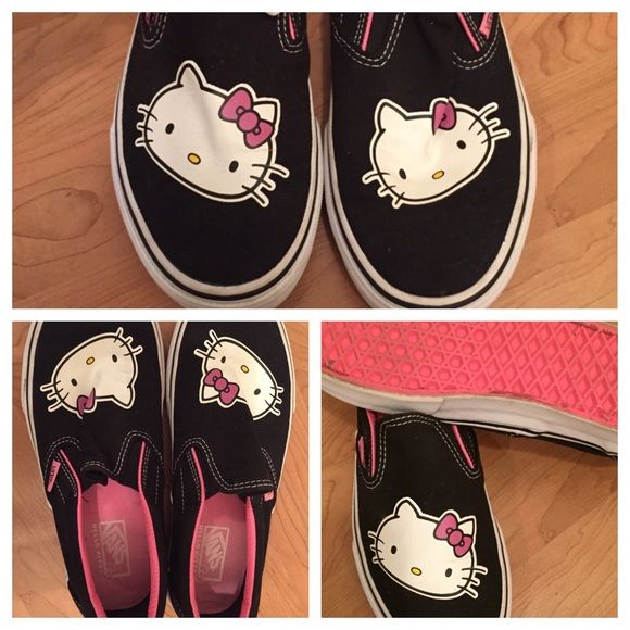 Hello Kitty Vans slip-on Hello Kitty Vans. Worn ONCE! Excellent Condition, Women's size 7! Vans Shoes
