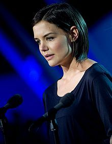 Katie Holmes making a speech at the National Memorial Day in Washington,D.C., May24, 2009