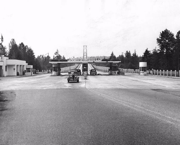 The toll booth on the Lions Gate Bridge.