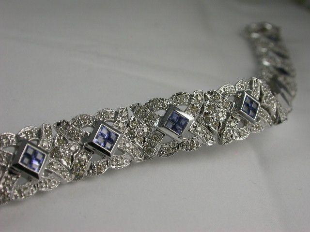 """Marlene #Dietrich"" Style #Diamond and Blue #Sapphire/Ceylon #Bracelet 18ct. white #gold with round brilliant diamonds and square blue sapphires. Price: $8750.00"