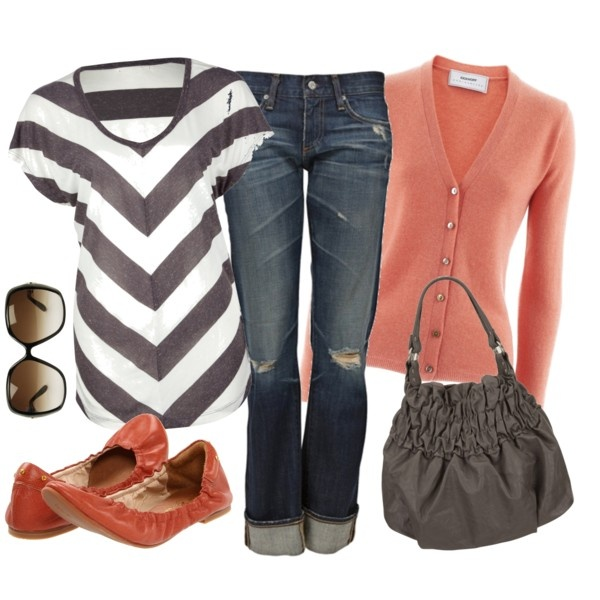 Gray and Coral, created by cheesemyhead on Polyvore: Outfits, Fashion, Casual Outfit, Chevron Top, Style, Dream Closet, Clothes