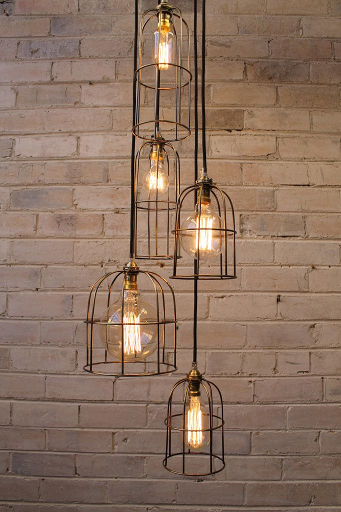 Cage Light Chandelier - 5 Drop with round cord