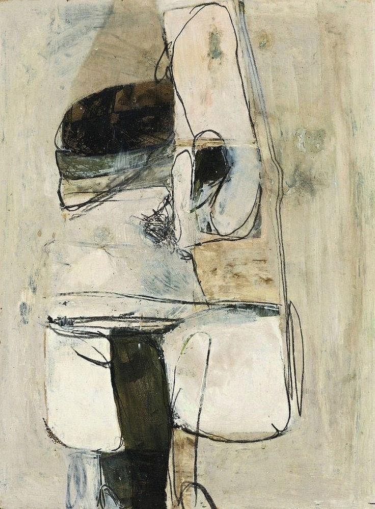 Brett Whiteley 1939 - 1992 UNTITLED WHITE PAINTING, 1961 oil, tempera, pencil and mixed mediaon paper on board
