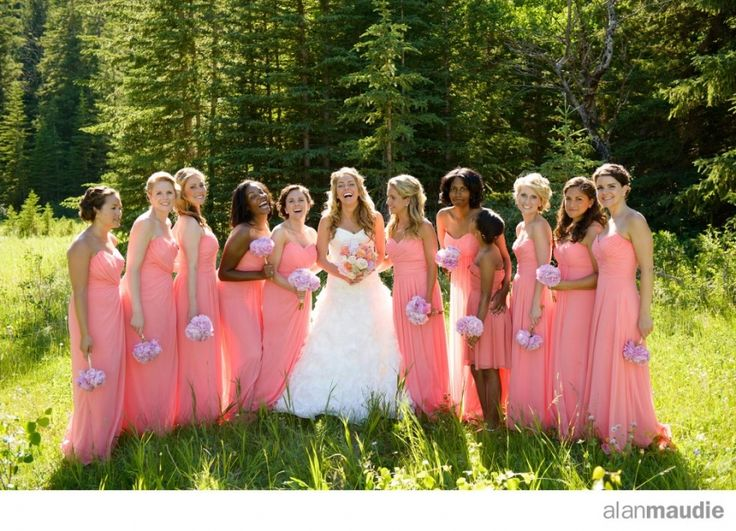 Bridesmaids and the bride, Rocky Mountain Wedding, Banff Springs Hotel, Banff, AB