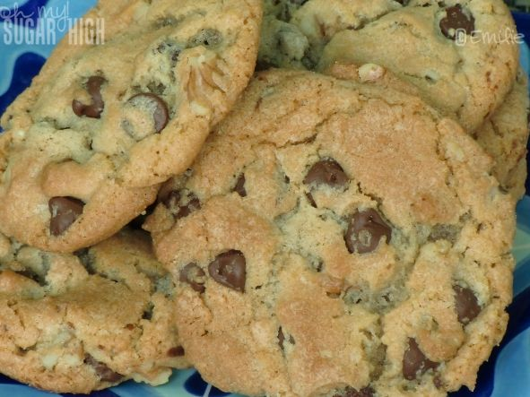 Chocolate Chip Cookies, shortening makes the difference - flaky and good.