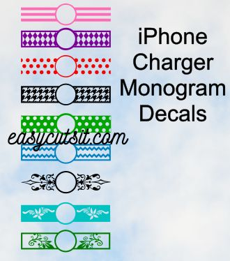 IPhone charger decals! Nine designs in one file! Need it monogrammed? We can do that too!
