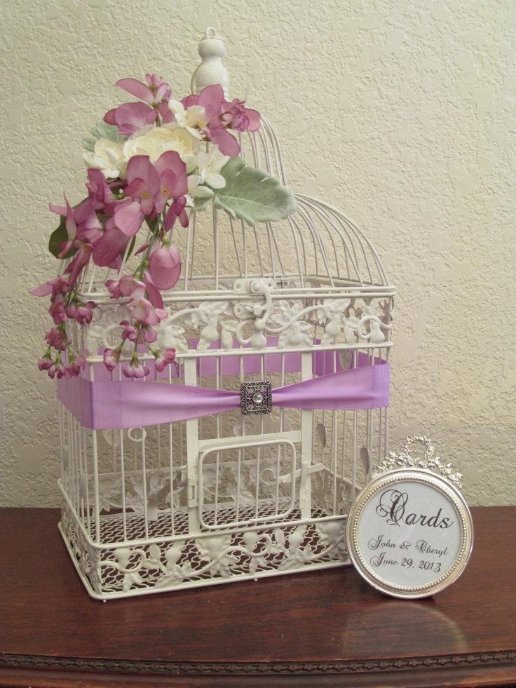 Wedding Card Box / Bird Cage Wedding Card Holder With Bling / Framed Sign. Via Etsy.