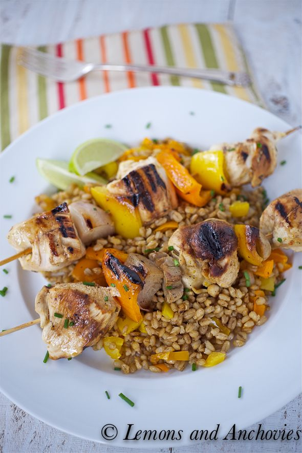 Rum and Citrus Chicken Kabobs with Stir-Fried Barley