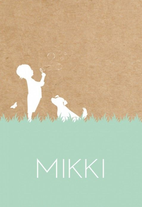 Lief schattig geboortekaartje Mikki met een kraft karton look achtergrond. Tip: je kunt de illustraties naar wens aanpassen!