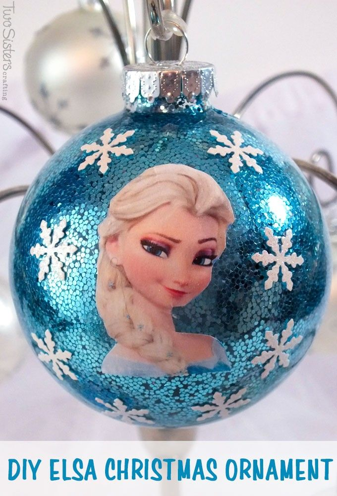 Handmade 2014 Frozen ball Christmas tree decoration with Elsa picture and snowflakes decor - blue glitter cover, Christmas party ornament #2014 #Frozen #Christmas #Ball #Ornaments