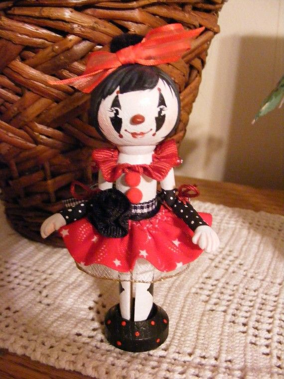 Clothespin Doll Dot Harlequin Girlz by LoriaDesigns on Etsy, $35.00