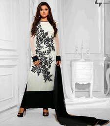 Buy white embroidered georgette semi stitched salwar with dupatta party-wear-salwar-kameez online