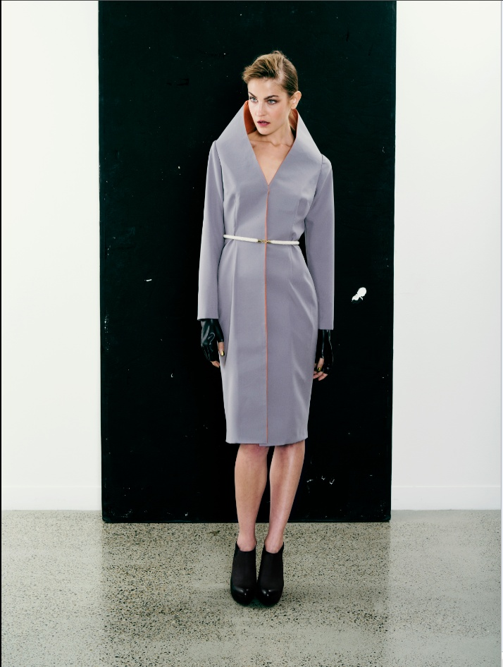 High collar grey coat-dress.