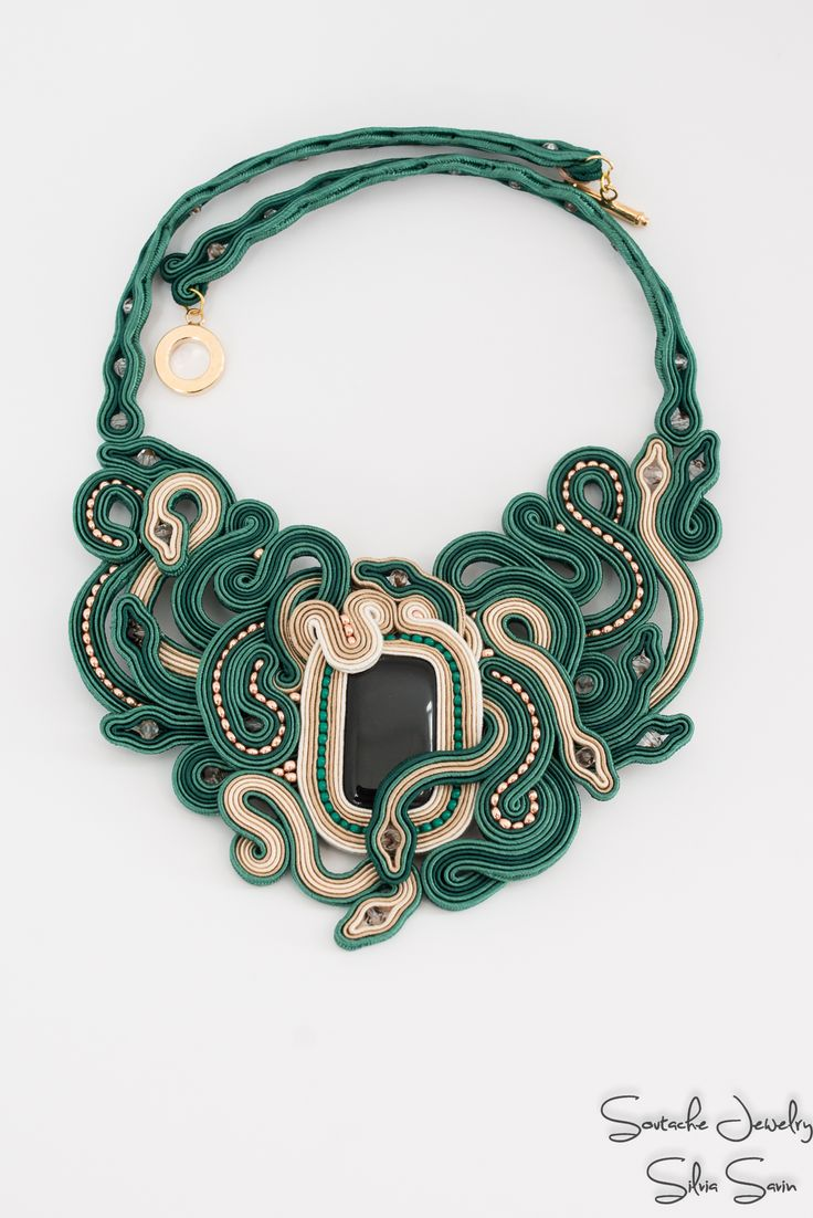 Green and beige soutache necklace with Preciosa beads