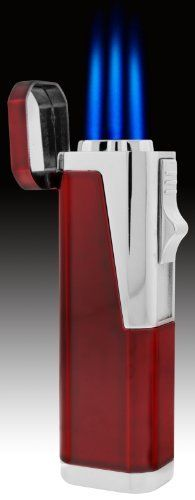 JetLine Hurricane Triple Torch Lighter (Chrome Red) by Tiger. $24.99. Color *Chrome *High capacity butane tank. *Powerful Triple Torch Blue Flame. *Butane Refillable. *Adjustable flame *Built-In Pull out 8mm Cigar Puncher. *Extremely powerful windproof pocket torch lighter is equipped with oxygen escape valve for high altitude and strong wind conditions.
