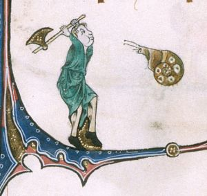 BLL_Add49622_f180v_d In the lower marginalia of f. 180v, a woman has her ax ready for attacking the (sinistral) snail opposite her.