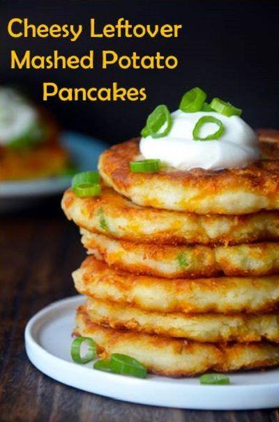 **Cheesy Leftover Mashed Potato Pancakes