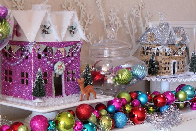 Glitter Holiday Houses: Christmas Village, Holidays Houses, Glitter Houses, Glitter Holidays, Paper Mache, Shimmeri Houses, Gingerbread Houses, Putz Houses, Paper Houses