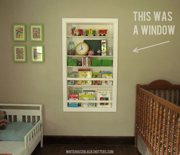 take an old window opening and turn it into a HUGE built in bookshelf!