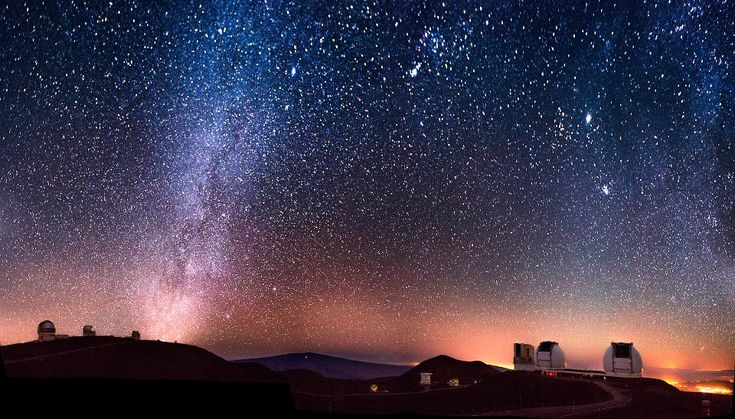 The twin Keck telescopes shooting their laser guide stars into the heart of the Milky Way on a beautifully clear night on the summit on Mauna Kea, Hawaii. Description from keckobservatory.org. I searched for this on bing.com/images