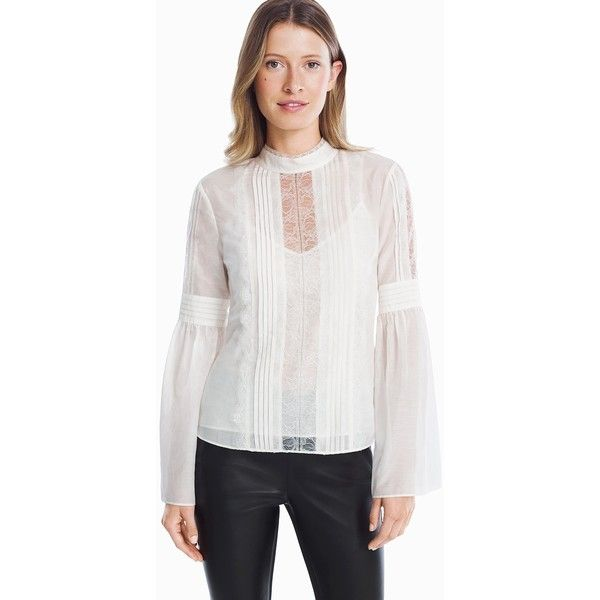 White House Black Market Victorian Lace Blouse ($42) ❤ liked on Polyvore featuring tops, blouses, lace blouse, petite blouses, white lace camisole, long sleeve tops and petite white blouse