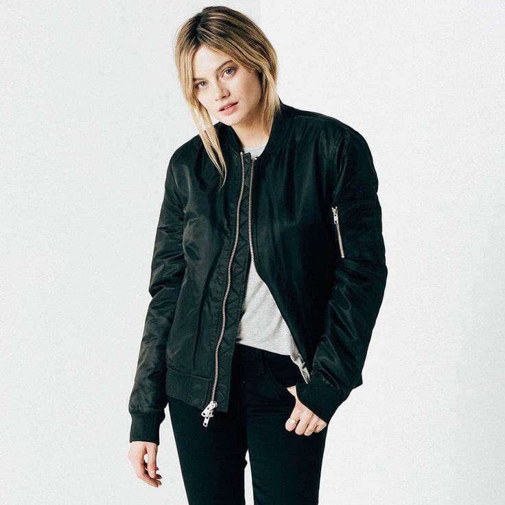 Womens Nylon Bomber Jacket With Silver Zippers In Black | DSTLD