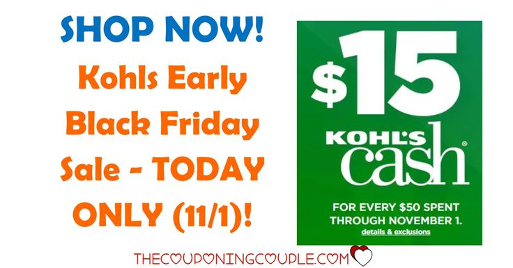 Can't wait for Black Friday, want to shop early? Shop the Kohls Early Black Friday Sale TODAY ONLY! HURRY as it is ONE DAY ONLY!  Click the link below to get all of the details ► http://www.thecouponingcouple.com/kohls-early-black-friday-sale/ #Coupons #Couponing #CouponCommunity  Visit us at http://www.thecouponingcouple.com for more great posts!