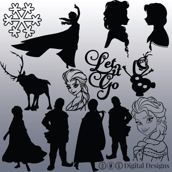 12 Frozen Silhouette Clipart Images Clipart by OMGDIGITALDESIGNS