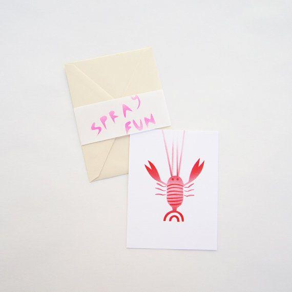 SprayfunDecor. Retrouvez cet article dans ma boutique Etsy https://www.etsy.com/fr/listing/182624450/carte-postale-carte-noel-homard-rouge