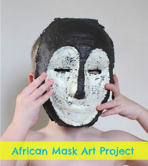 African Mask Project from plaster wrap. Includes video and resources.