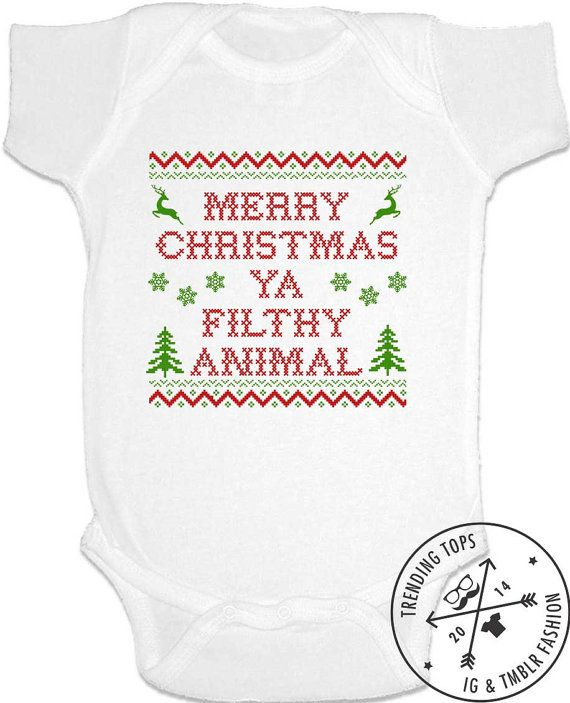Merry Christmas Ya Filthy Animal (Green and Red) Christmas Design - Funny Baby Shirts, Baby Bodysuit, onesie, diaper shirt by trendingtops. Explore more products on http://trendingtops.etsy.com
