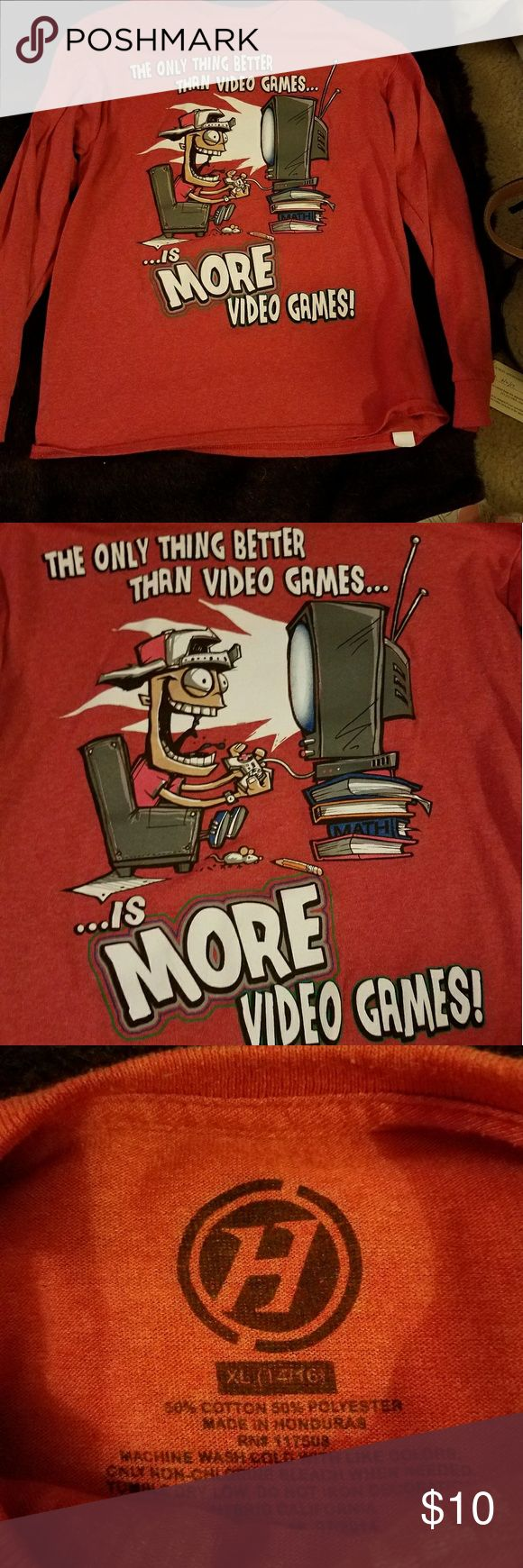 Boys Video Gamer Obsession Long Sleeve tshirt XL The only thing better then vido5ganes is MORE video game! Orange Long Sleeve Cuffed. Size XL boys. Shirts & Tops Tees - Long Sleeve