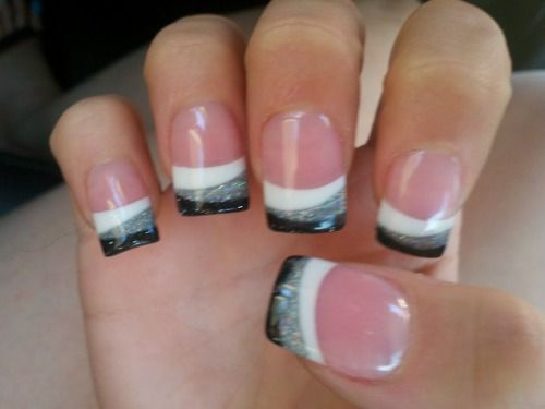 Black, Silver, and White Nail Tips.