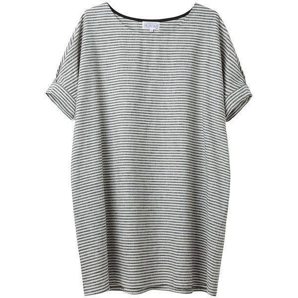 Bamboo by United Bamboo Striped Baggy Dress (€235) ❤ liked on Polyvore featuring dresses, tops, shirts, t-shirts, black linen dress, oversized t shirt dress, striped tee dress, striped t shirt dress and black tshirt dress