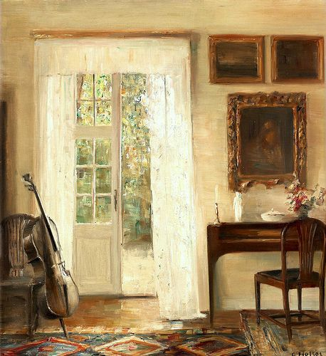 scintilleadamantine:    Interior with Cello. Carl  Vilhelm Holsoe, Danish, (1863-1935)  Holsoe is a very much respected artist of the Danish school. He painted landscapes, genre scenes and interiors and in this respect is very similar to Vilhelm Hammershøi.