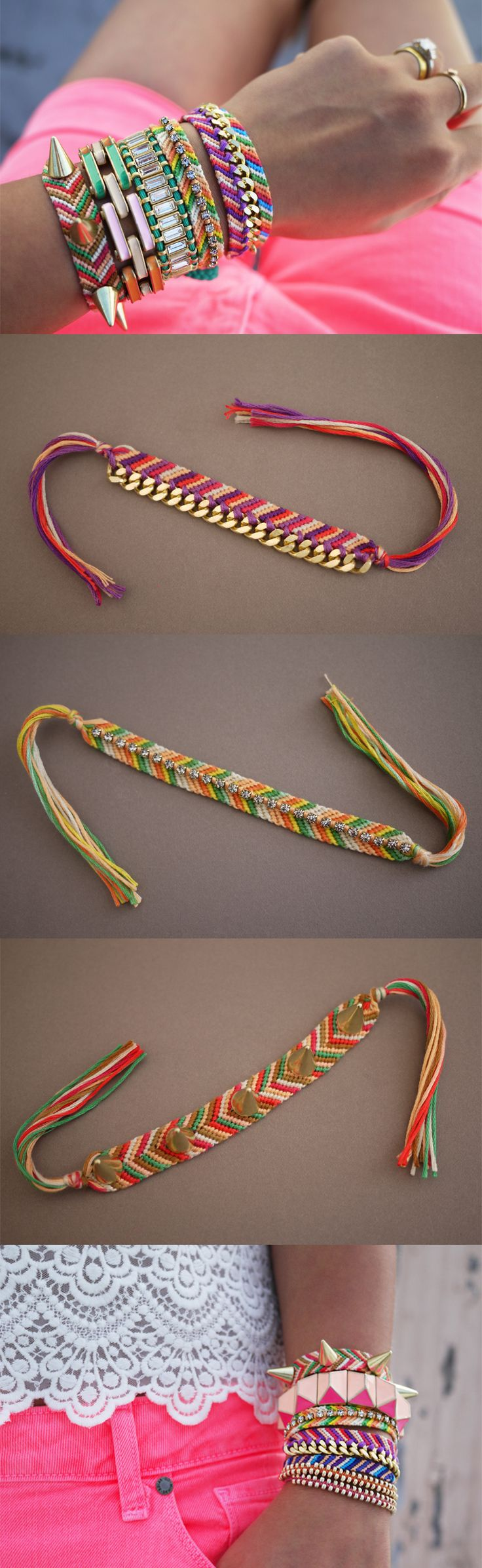 Frienship is a very important thing for me. I love making these bracelets because 1) It's a fun ways of making art and 2) it is a good way of showing your friends your frienship by making the same pattern to all of them. It's a nice little gift to give for ANY occasion. Infinite ways of making them, choosing the colors, adding little or big beads, you can never get tired of finding ideas for it!!
