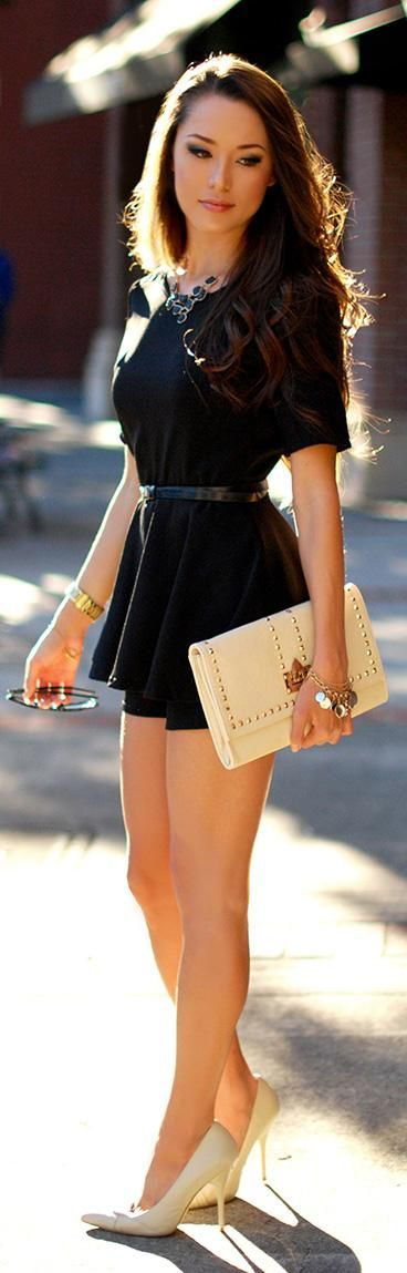 Black romper + ivory accents.