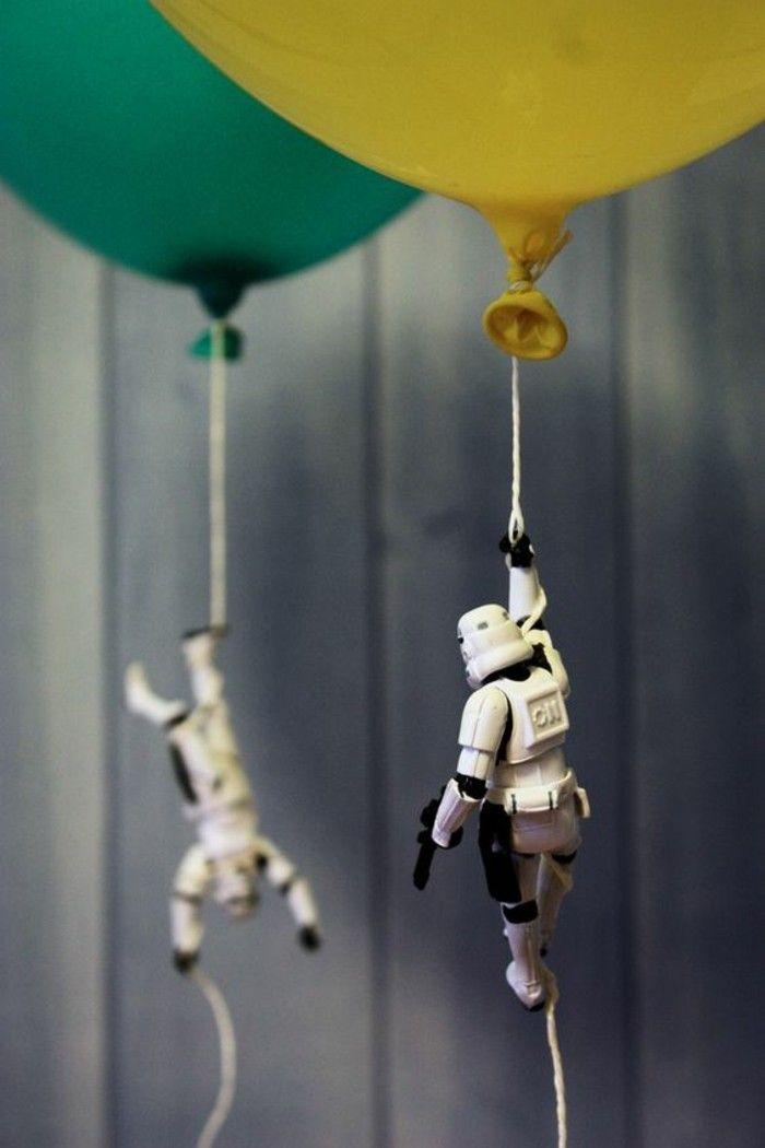 idée créative pour une décoration anniversaire star wars, figurine soldat impérrial